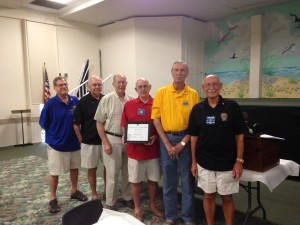 Lions International award presented to the Sanibel Lions Club for the best club in the district for diabetes education.