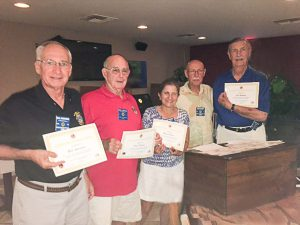 San-Cap Lions Screeners Receive Certificates of Appreciation. (L-R) Bill Sartoris, Dick Travas, Nilou Peters, Kurt Peters. Jim Graham