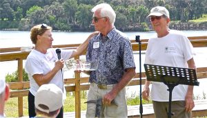 Lion Skaugstad receives tribute from Sharon Miller.